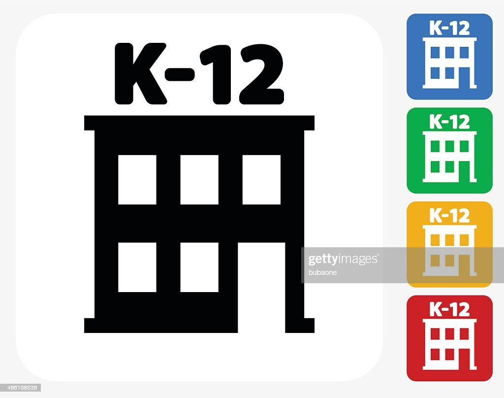 K-12 School Icon Flat Graphic Design
