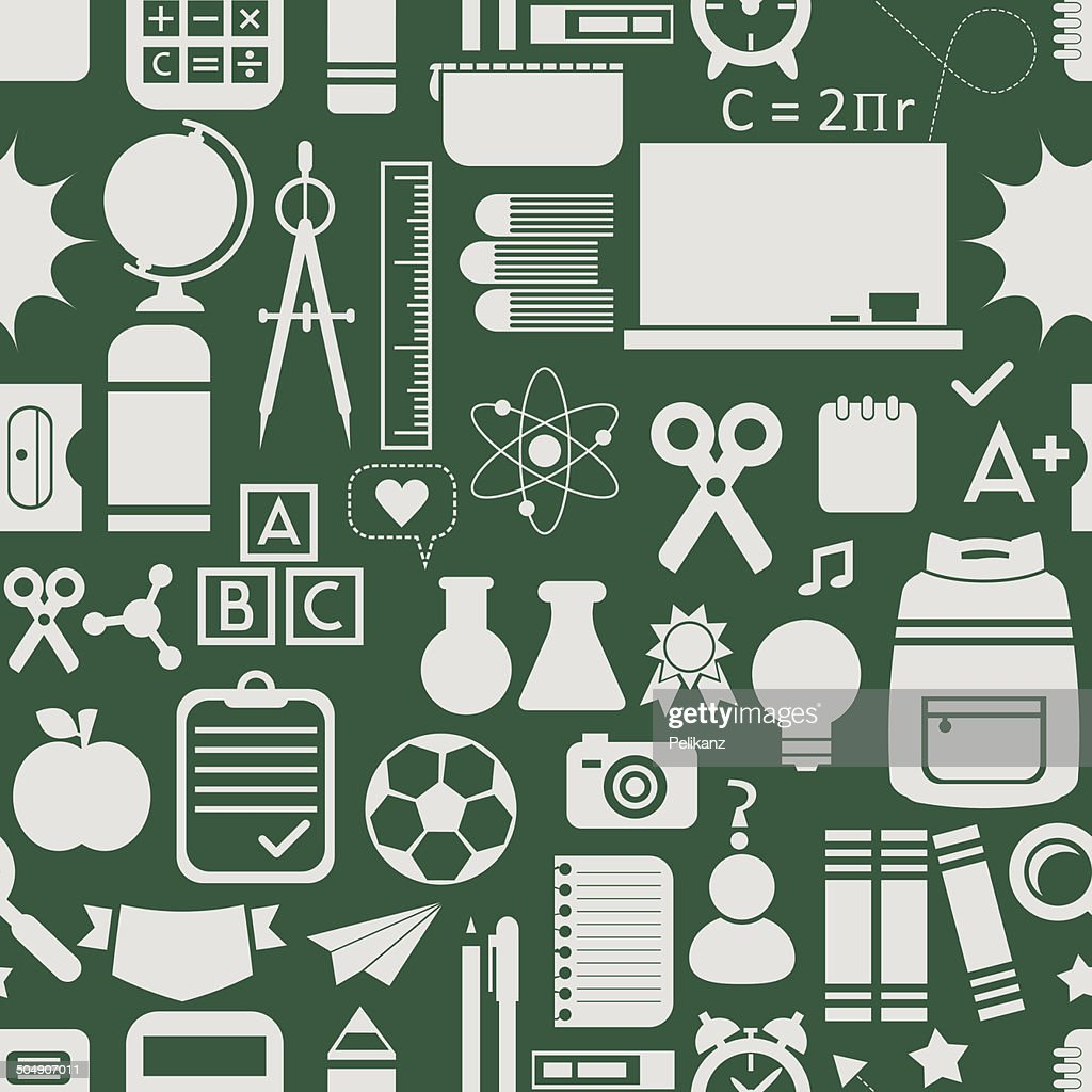School icons, background, and seamless pattern