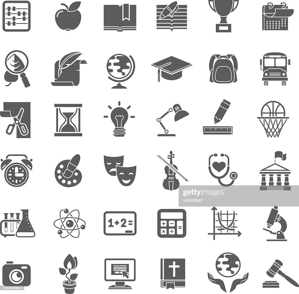 School Icons Flat Dark Outline Silhouettes