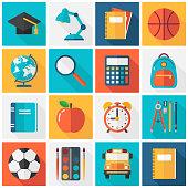 School Icons - Flat Square Vector Set