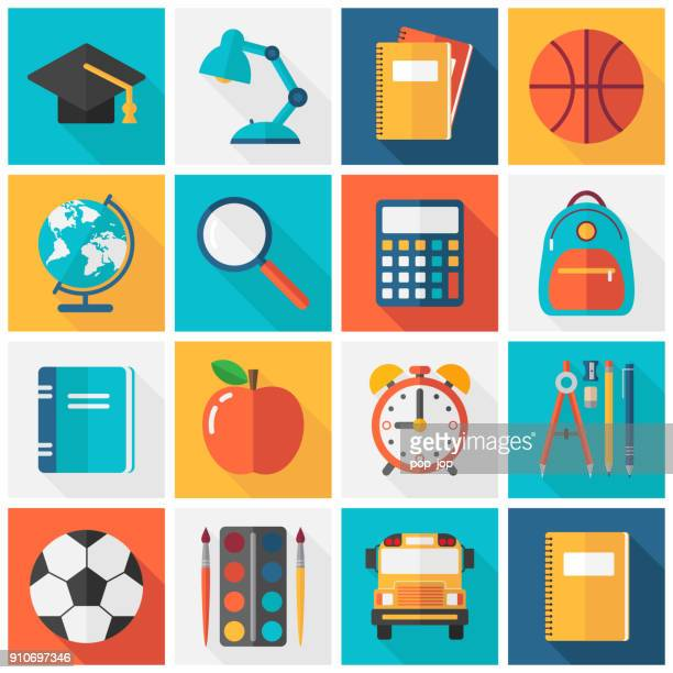 school icons - flat square vector set - exercise book stock illustrations