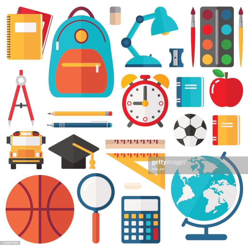 School Icons - Flat Vector Set