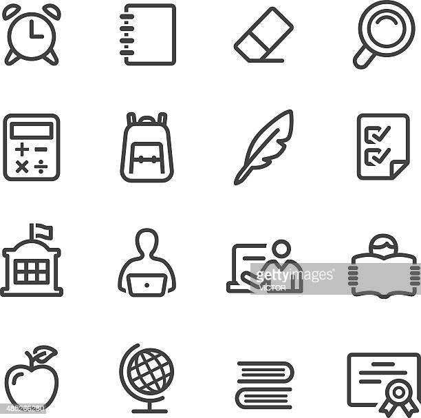 school icons - line series - part of a series stock illustrations