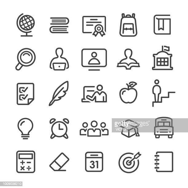 ilustrações, clipart, desenhos animados e ícones de ícones de escola - série linha inteligente - aluno do ensino médio