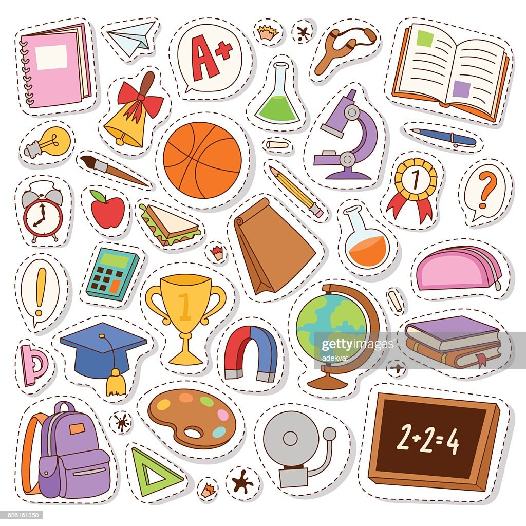 School icons vector stickers.