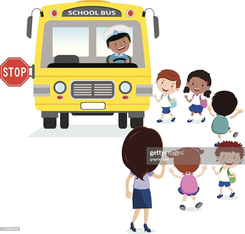 School kids boarding the bus