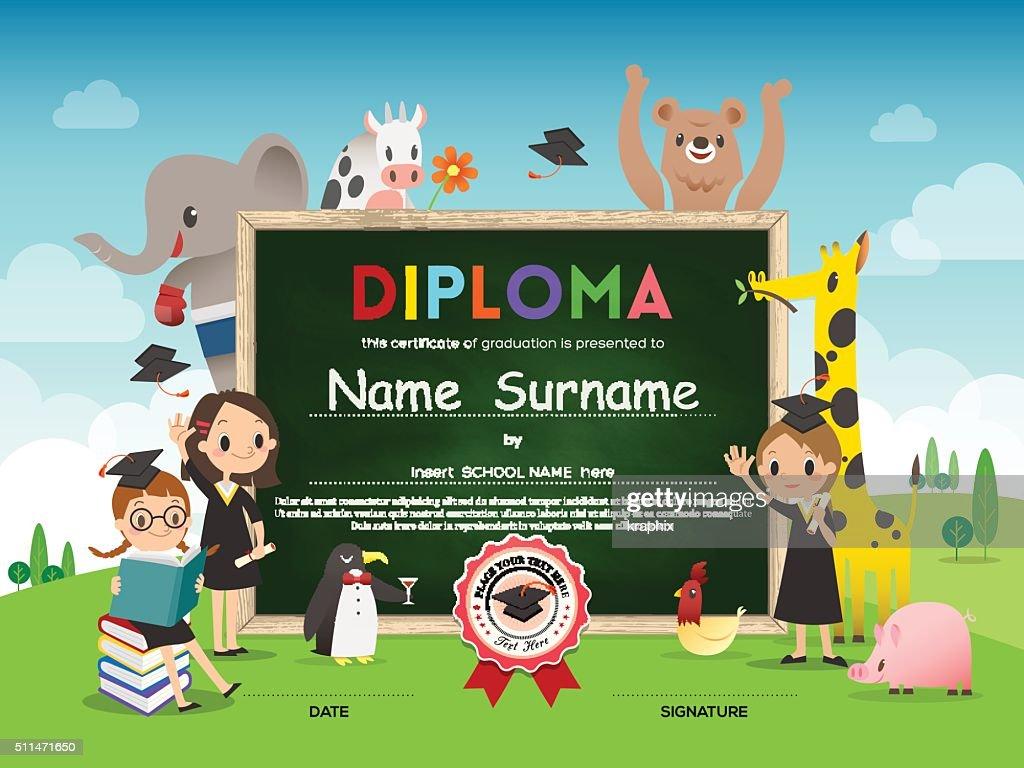 school kids diploma certificate template with animal cartoon frame