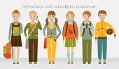 School kids group. Boys and girls
