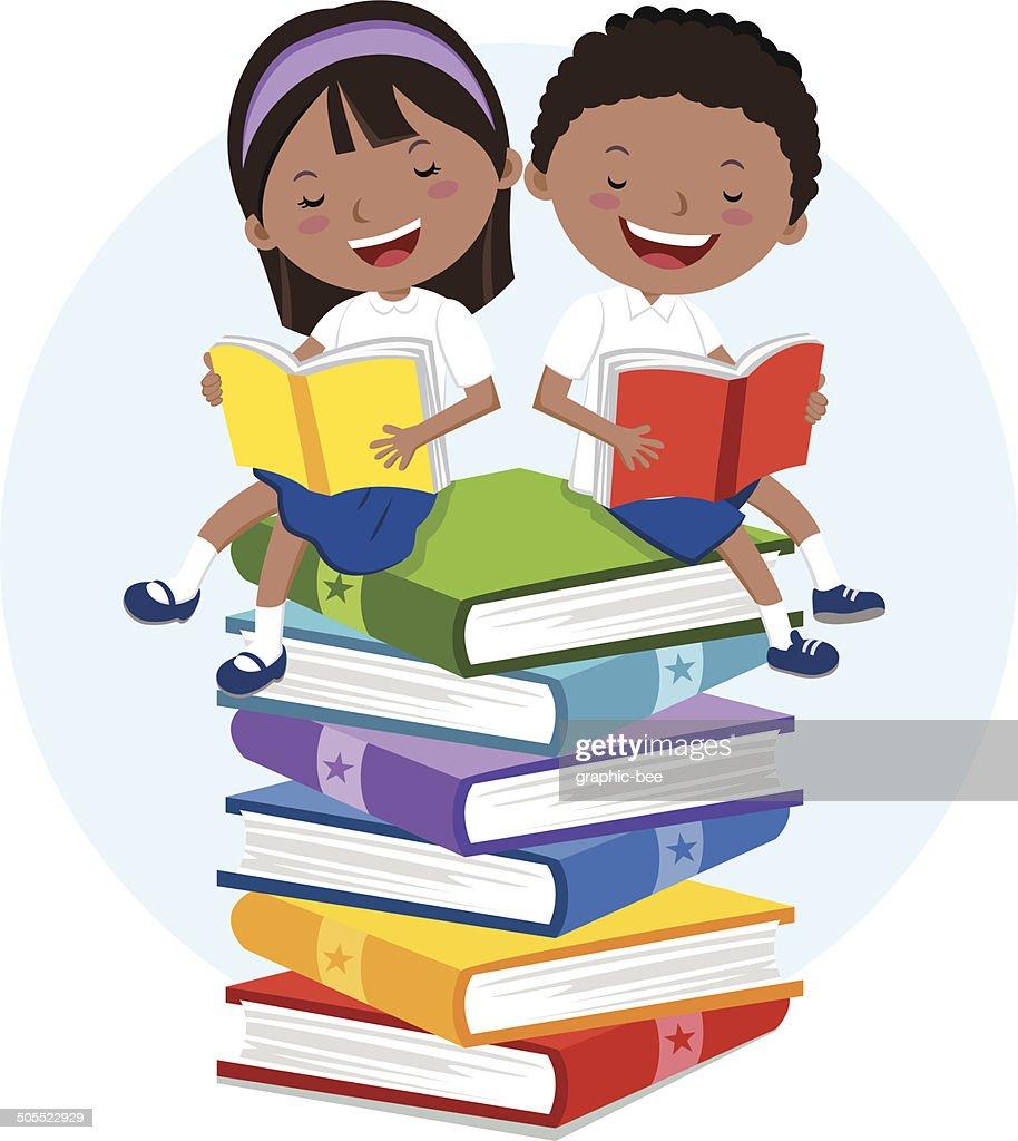 School kids love to read books
