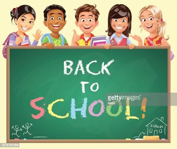 School Kids Peeking Behind Blackboard