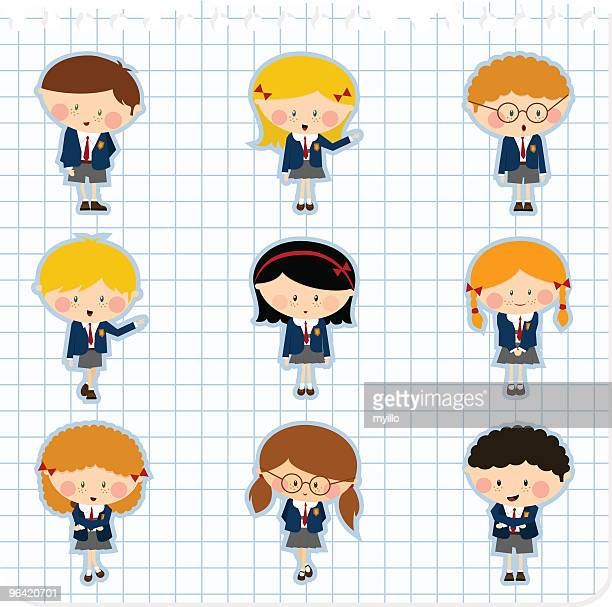 school kids. schoolboy schoolgirl uniform illustration vector - school uniform stock illustrations, clip art, cartoons, & icons