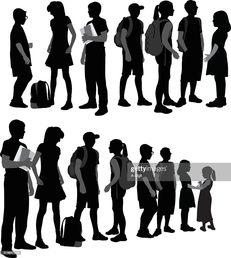 School Kids Silhouettes In A Row : stock illustration