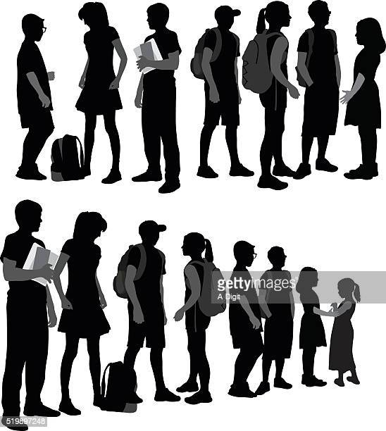 School Kids Silhouettes In A Row