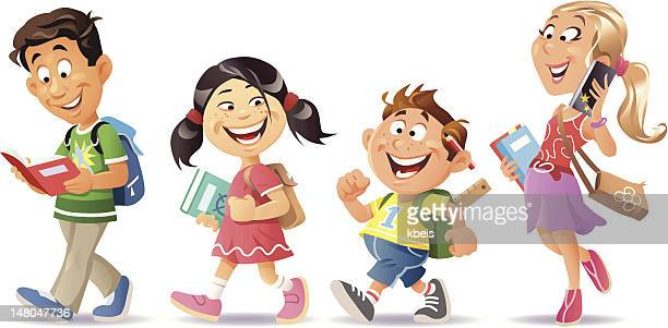 school kids - braided hair stock illustrations, clip art, cartoons, & icons