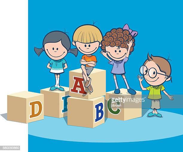 school kids - spelling stock illustrations
