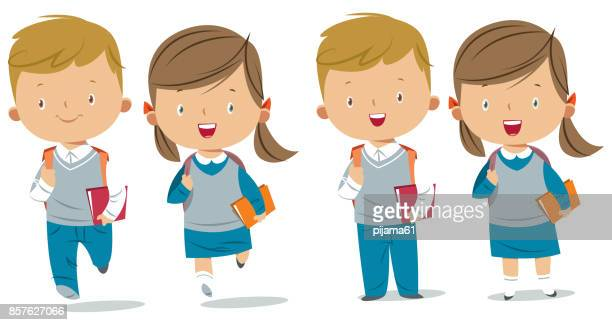 school kids - school uniform stock illustrations, clip art, cartoons, & icons