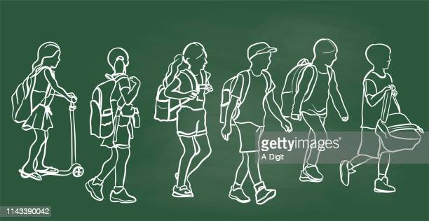 Schule Kids Walking Chalkboard