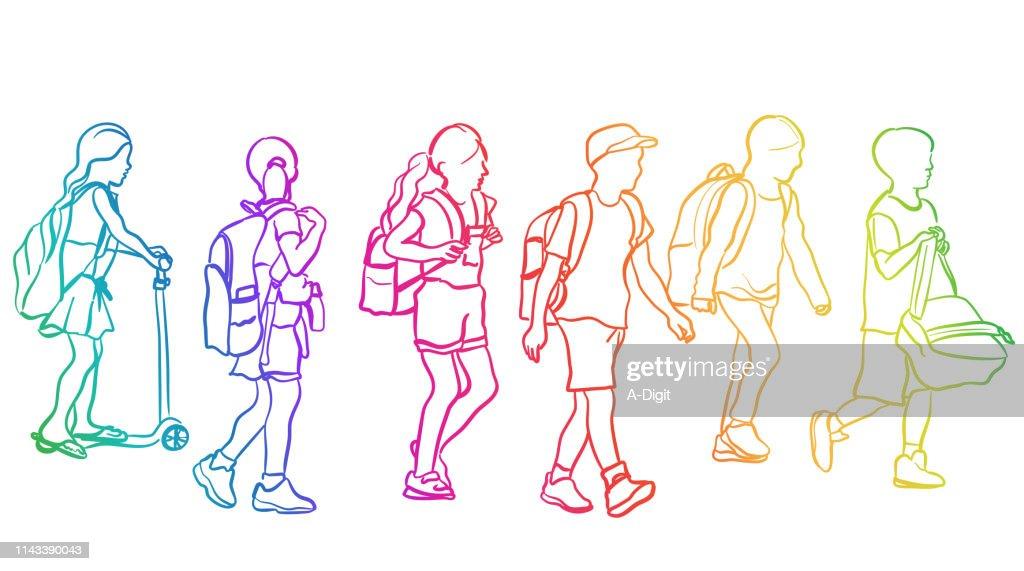 School Kids Walking Rainbow : stock illustration
