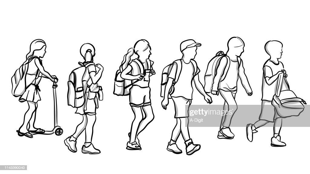School Kids Walking : stock illustration
