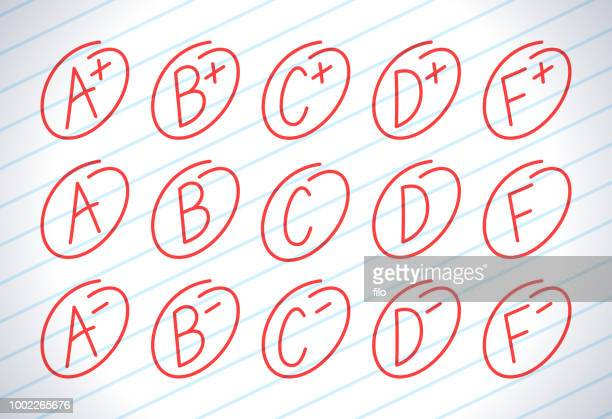 school letter grades - scoring stock illustrations