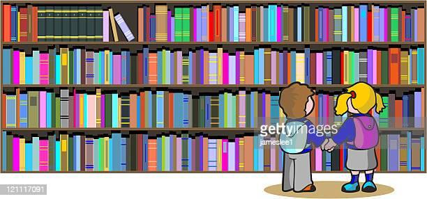 ilustrações, clipart, desenhos animados e ícones de escola biblioteca - livraria