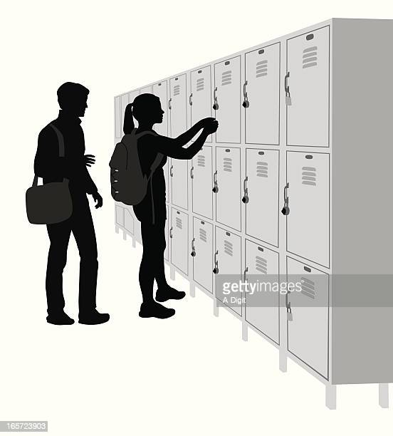school lockers vector silhouette - high school student stock illustrations, clip art, cartoons, & icons