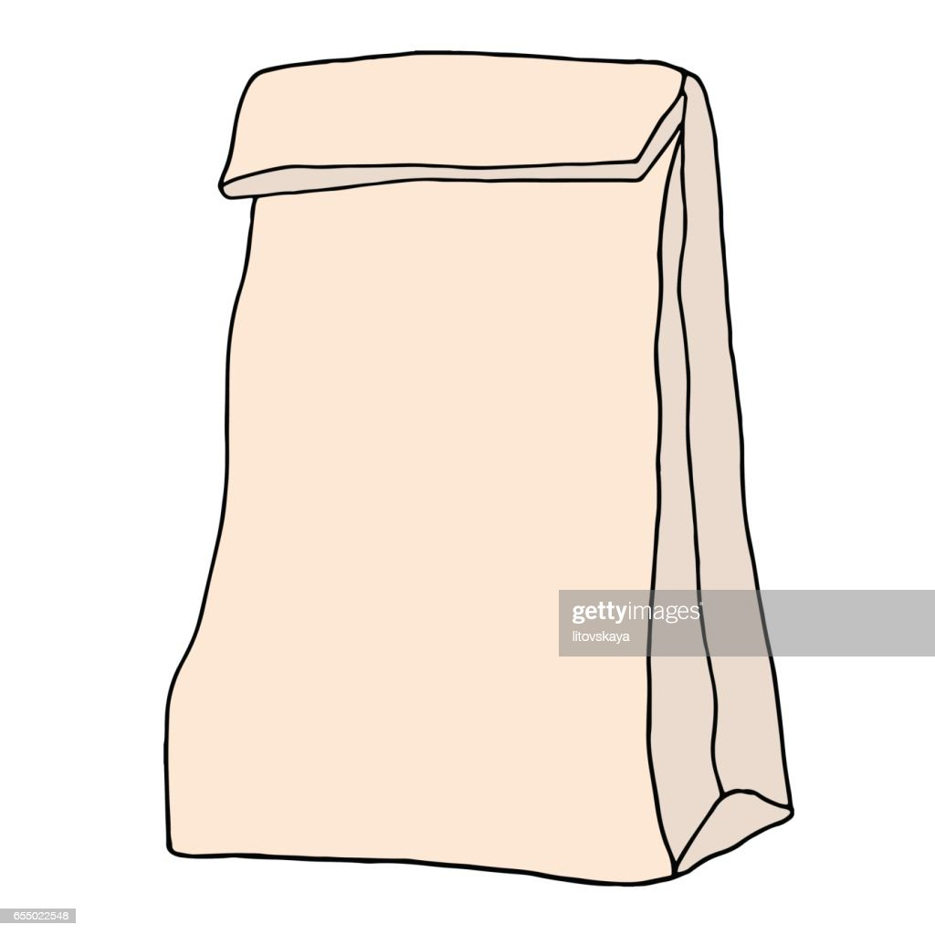 School lunch bag. Hand drawn vector illustration.