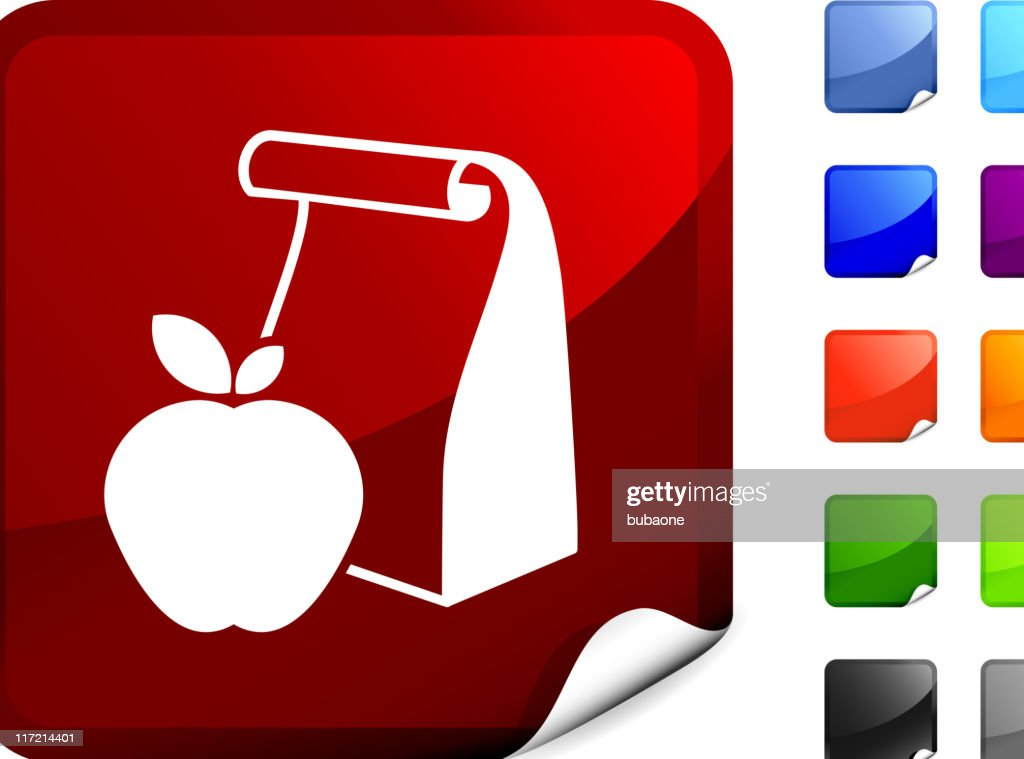 school lunch bag with apple internet royalty free vector art