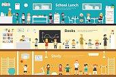 School Lunch Books Study flat interior outdoor concept web