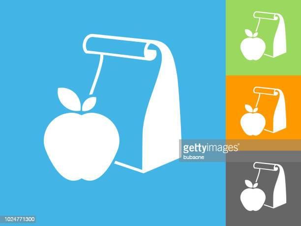 school lunch  flat icon on blue background - lunch bag stock illustrations