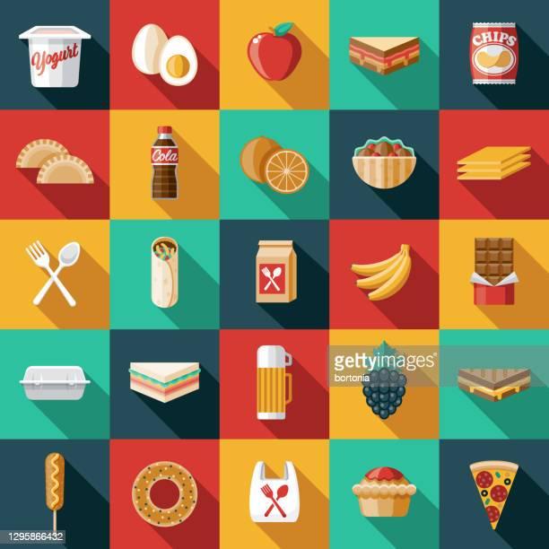 school lunch icon set - soda bottle stock illustrations