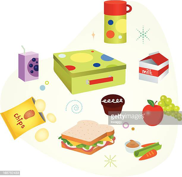 school lunch - juice drink stock illustrations, clip art, cartoons, & icons