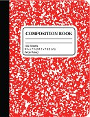 School Marble Composition Book -Red (vector)