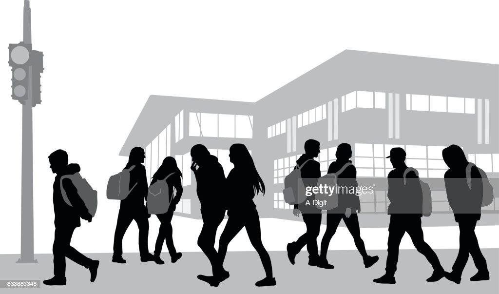 School Morning Walk : stock illustration