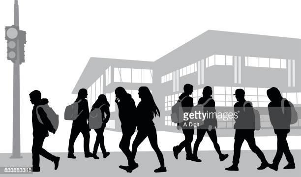 school morning walk - high school student stock illustrations, clip art, cartoons, & icons