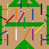 School objects vector seamless pattern