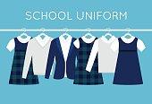 School or College Uniforms on Hangers in Line. Kids Clothes Vector Set