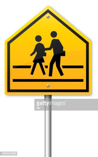 school or road crossing crosswalk sign. - crossing sign stock illustrations, clip art, cartoons, & icons