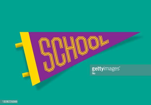 school pennant design - holding up sign stock illustrations