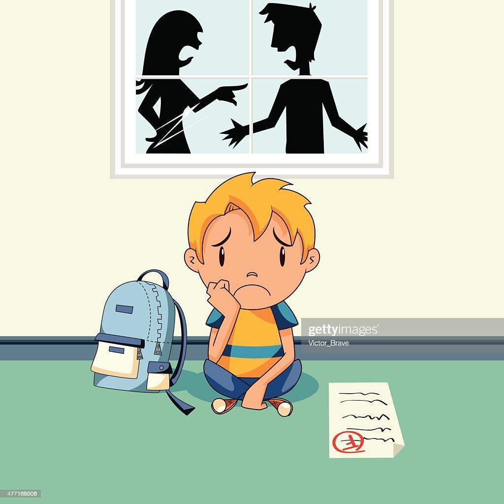School problems, sad child