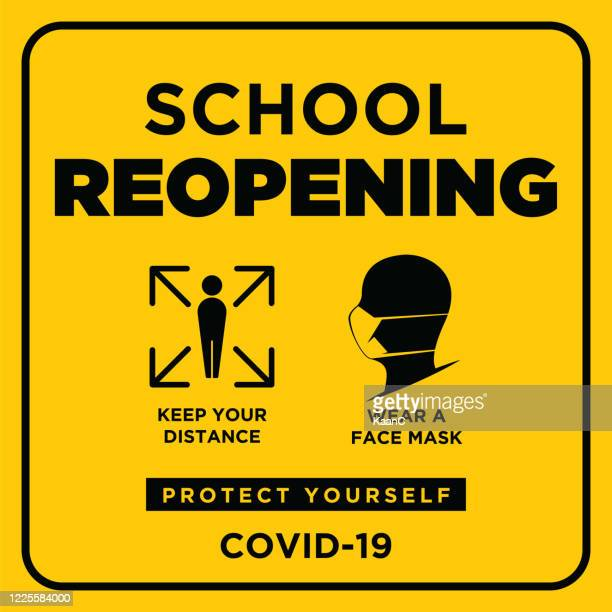 school reopening. wuhan coronavirus outbreak influenza as dangerous flu strain cases as a pandemic concept banner flat style illustration stock illustration - opening event stock illustrations