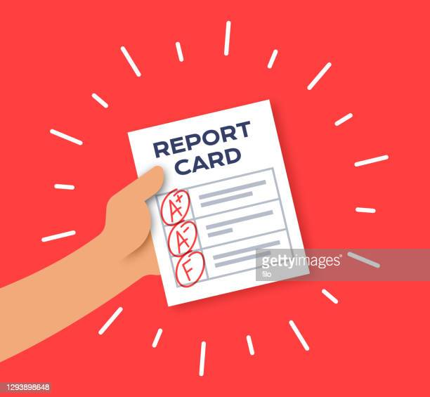 school report card with grades - report card stock illustrations
