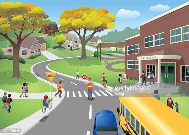 ilustraciones, imágenes clip art, dibujos animados e iconos de stock de escena de escuela - edificio escolar