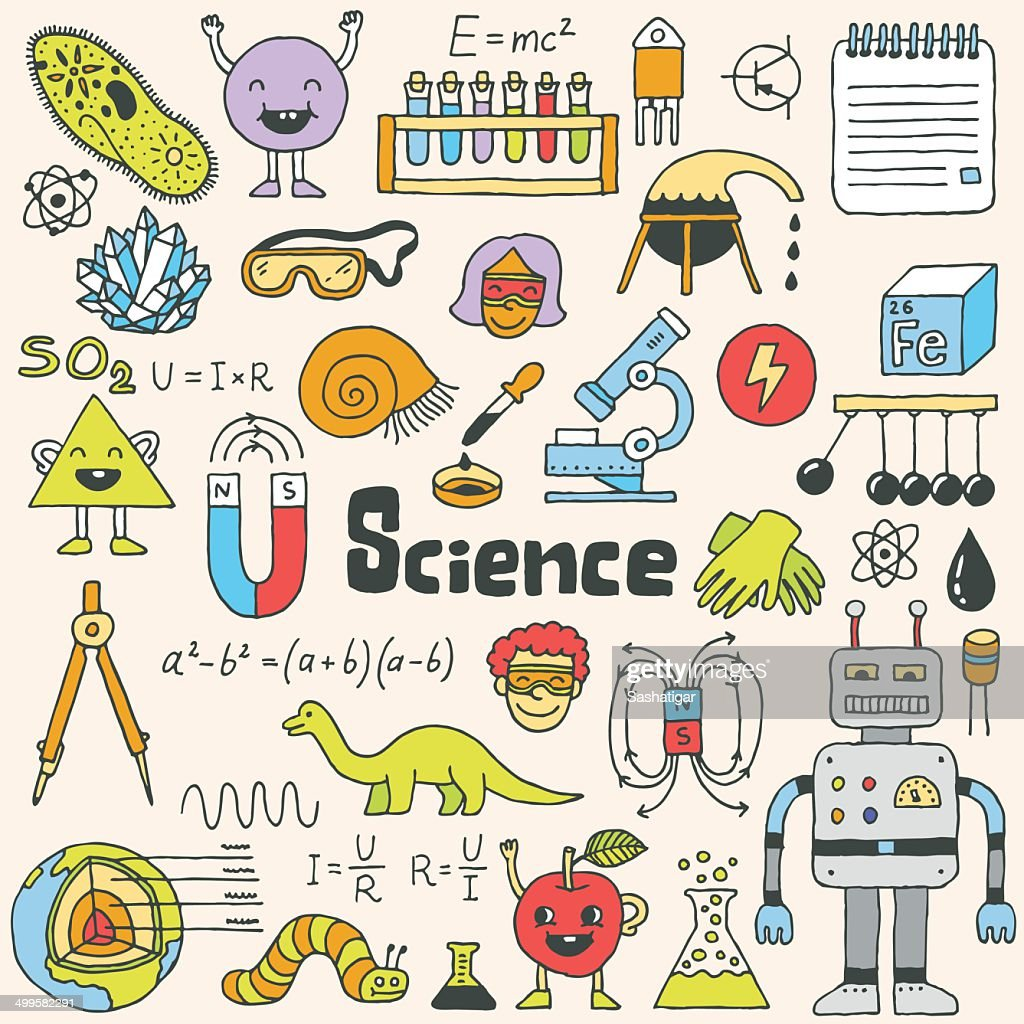 School science doodle set 1. Hand drawn vector illustration.