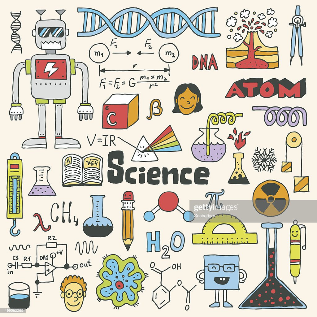 School science doodle set 2. Hand drawn vector illustration.