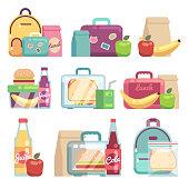 School snacks bags. Healthy food in kids lunch boxes vector set