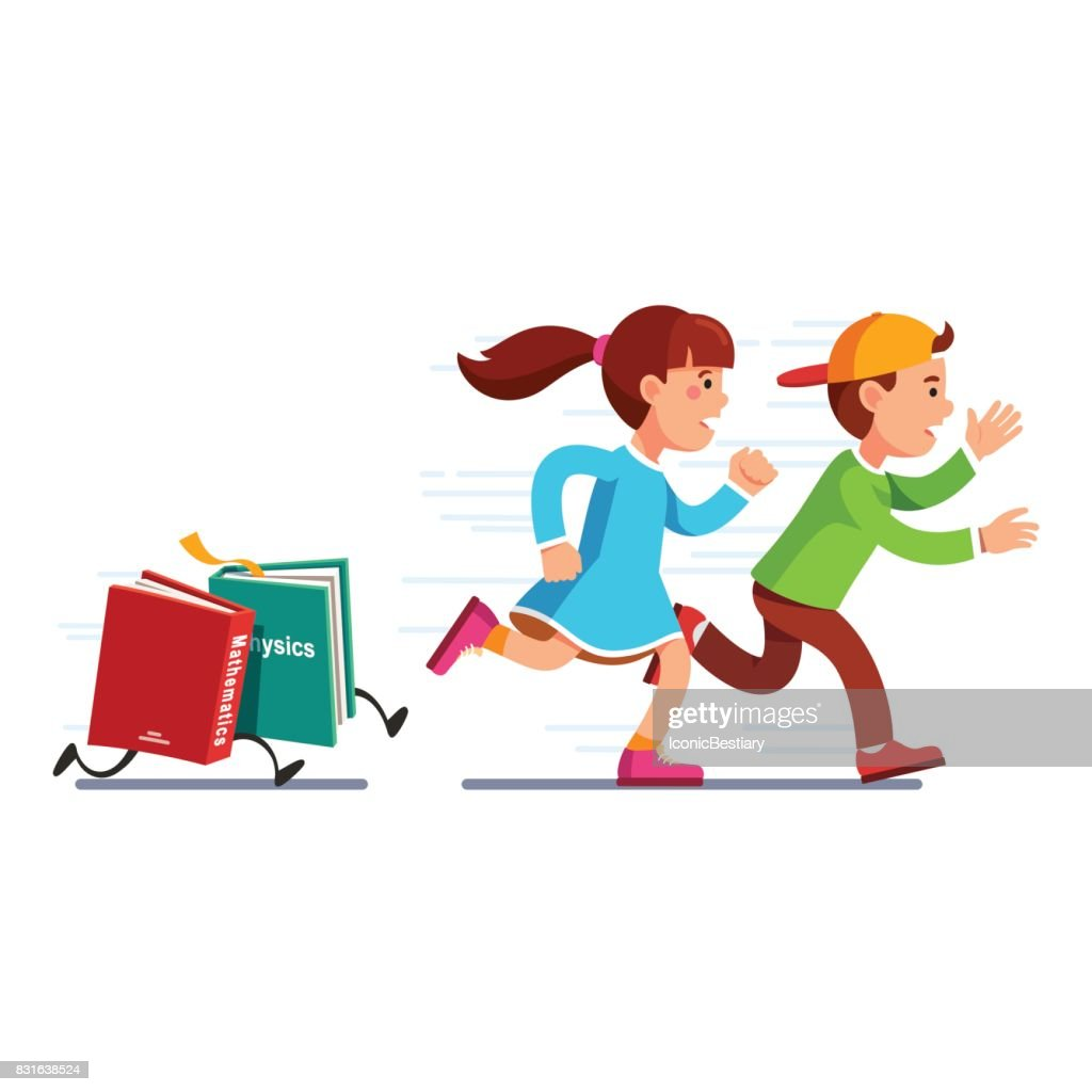 School students girl and boy running from books