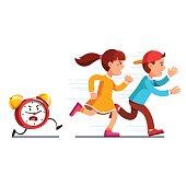 School students kids running away from alarm clock