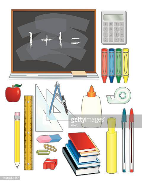 school stuff - ballpoint pen stock illustrations, clip art, cartoons, & icons