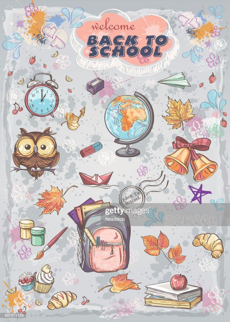 school subjects  backpack, paints, Globe and autumn leaves